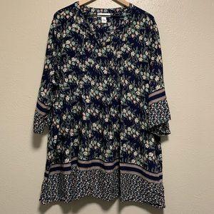 Motherhood floral tunic pleated maternity blouse